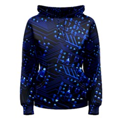 Blue Circuit Technology Image Women s Pullover Hoodie