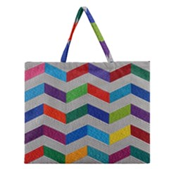 Charming Chevrons Quilt Zipper Large Tote Bag by BangZart