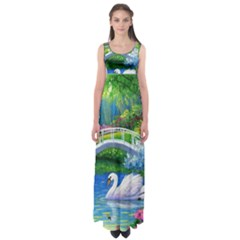 Swan Bird Spring Flowers Trees Lake Pond Landscape Original Aceo Painting Art Empire Waist Maxi Dress
