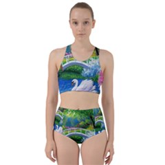 Swan Bird Spring Flowers Trees Lake Pond Landscape Original Aceo Painting Art Bikini Swimsuit Spa Swimsuit