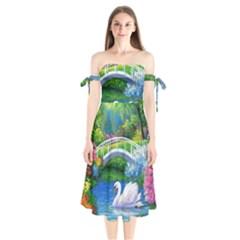 Swan Bird Spring Flowers Trees Lake Pond Landscape Original Aceo Painting Art Shoulder Tie Bardot Midi Dress