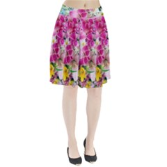 Colorful Flowers Patterns Pleated Skirt by BangZart