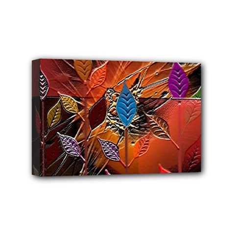 Colorful Leaves Mini Canvas 6  X 4  by BangZart