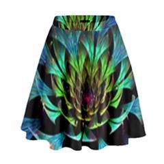 Fractal Flowers Abstract Petals Glitter Lights Art 3d High Waist Skirt by BangZart