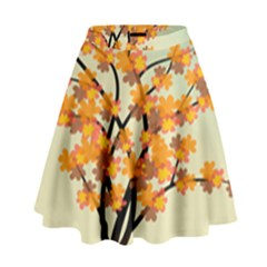 Branches Field Flora Forest Fruits High Waist Skirt by Nexatart
