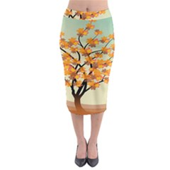 Branches Field Flora Forest Fruits Midi Pencil Skirt by Nexatart