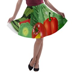 Fruits Vegetables Artichoke Banana A Line Skater Skirt by Nexatart