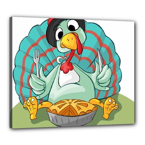 Pie Turkey Eating Fork Knife Hat Canvas 24  X 20  by Nexatart