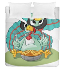 Pie Turkey Eating Fork Knife Hat Duvet Cover Double Side (queen Size) by Nexatart