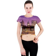 City Night Crew Neck Crop Top by BangZart