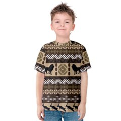 Lion African Vector Pattern Kids  Cotton Tee by BangZart