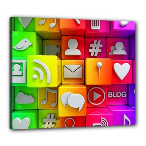 Colorful 3d Social Media Canvas 24  X 20  by BangZart