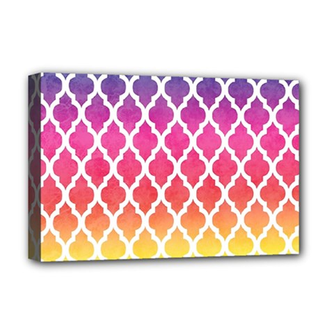 Colorful Rainbow Moroccan Pattern Deluxe Canvas 18  X 12   by BangZart