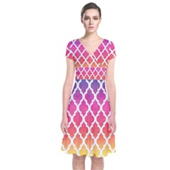 Colorful Rainbow Moroccan Pattern Short Sleeve Front Wrap Dress
