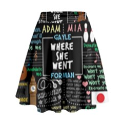 Book Quote Collage High Waist Skirt by BangZart
