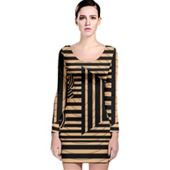 Wooden Pause Play Paws Abstract Oparton Line Roulette Spin Long Sleeve Velvet Bodycon Dress by BangZart