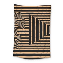 Wooden Pause Play Paws Abstract Oparton Line Roulette Spin Small Tapestry by BangZart