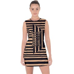 Wooden Pause Play Paws Abstract Oparton Line Roulette Spin Lace Up Front Bodycon Dress by BangZart