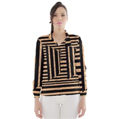 Wooden Pause Play Paws Abstract Oparton Line Roulette Spin Wind Breaker (women) by BangZart