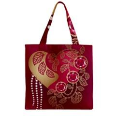 Love Heart Zipper Grocery Tote Bag by BangZart
