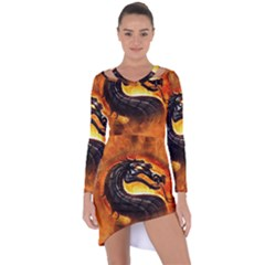 Dragon And Fire Asymmetric Cut Out Shift Dress