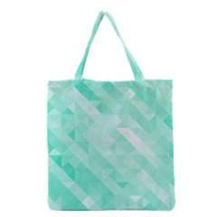 Bright Green Turquoise Geometric Background Grocery Tote Bag by TastefulDesigns