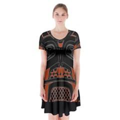 Traditional Northwest Coast Native Art Short Sleeve V Neck Flare Dress by BangZart