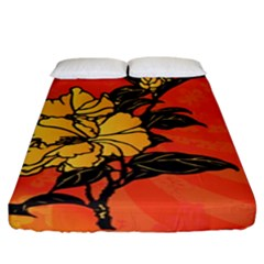 Vector Asian Flowers Fitted Sheet (king Size)