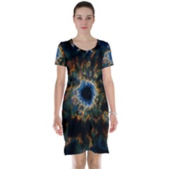 Crazy  Giant Galaxy Nebula Short Sleeve Nightdress by BangZart