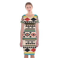 Tribal Pattern Classic Short Sleeve Midi Dress