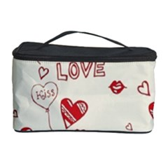 Pattern Hearts Kiss Love Lips Art Vector Cosmetic Storage Case by BangZart