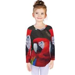 Scarlet Macaw Bird Kids  Long Sleeve Tee by BangZart