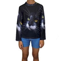 Face Black Cat Kids  Long Sleeve Swimwear by BangZart