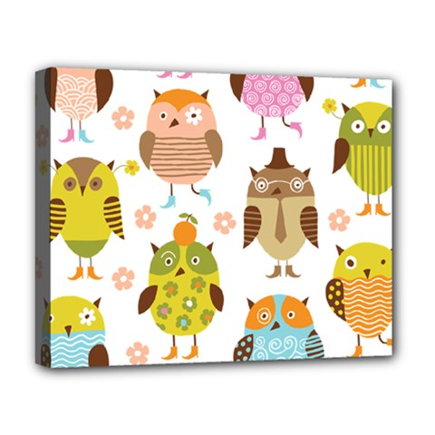 Cute Owls Pattern Deluxe Canvas 20  X 16   by BangZart