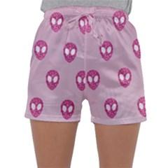 Alien Pattern Pink Sleepwear Shorts