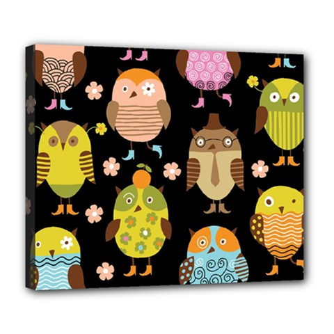 Cute Owls Pattern Deluxe Canvas 24  X 20   by BangZart