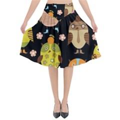 Cute Owls Pattern Flared Midi Skirt by BangZart