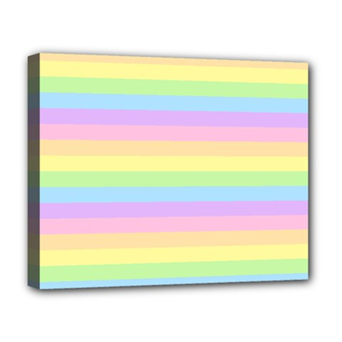 Cute Pastel Rainbow Stripes Deluxe Canvas 20  X 16   by BangZart