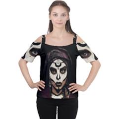 Voodoo  Witch  Cutout Shoulder Tee by Valentinaart