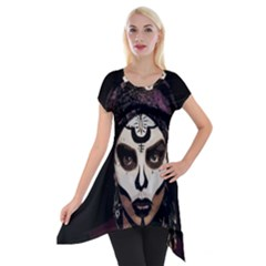 Voodoo  Witch  Short Sleeve Side Drop Tunic by Valentinaart