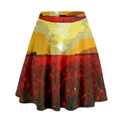 Poppy Field High Waist Skirt by Valentinaart