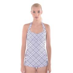 Grey Diagonal Plaid Boyleg Halter Swimsuit  by NorthernWhimsy