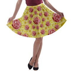 Roses And Fantasy Roses A Line Skater Skirt by pepitasart
