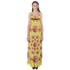 Roses And Fantasy Roses Empire Waist Maxi Dress by pepitasart