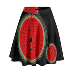 Watermelon Bicycle  High Waist Skirt by Valentinaart