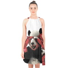 Boxing Panda  Halter Collar Waist Tie Chiffon Dress