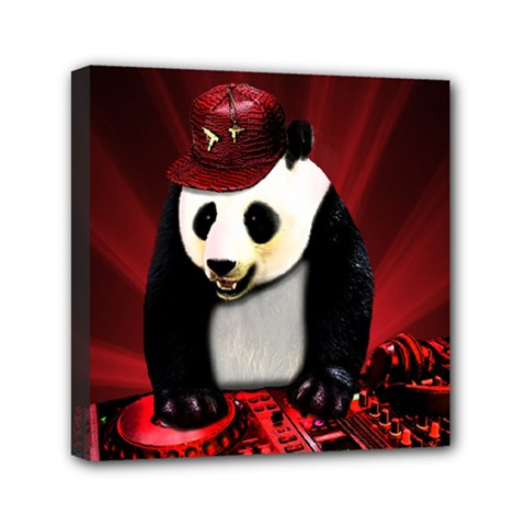 Deejay Panda Mini Canvas 6  X 6  by Valentinaart