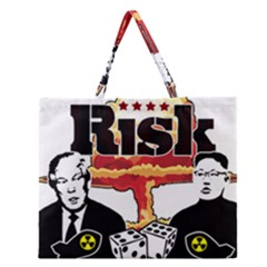 Nuclear Explosion Trump And Kim Jong Zipper Large Tote Bag by Valentinaart