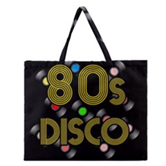 80s Disco Vinyl Records Zipper Large Tote Bag by Valentinaart