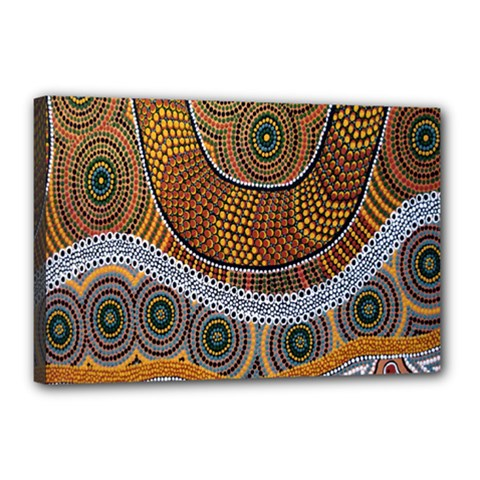 Aboriginal Traditional Pattern Canvas 18  X 12  by Onesevenart